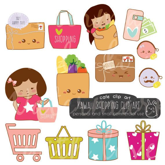 Kawaii Shopping Clipart/grocery clipart/money clipart/mail clipart/Instant Download - Commercial Use Clipart/Kawaii Planner Clipart by CafeClipArt on Etsy https://www.etsy.com/uk/listing/289041985/kawaii-shopping-clipartgrocery