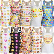 Summer fashion women emoji tank tops 3D print ladies tops sleeveless female shirt Harajuku tanks woman camisoles colete SMV128(China (Mainland))