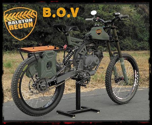 Motorized/pedal powered Mtn bike with racks for gear and weapons. Excellent SHTF secondary vehicle. Go anywhere on very little or no fuel if necessary.