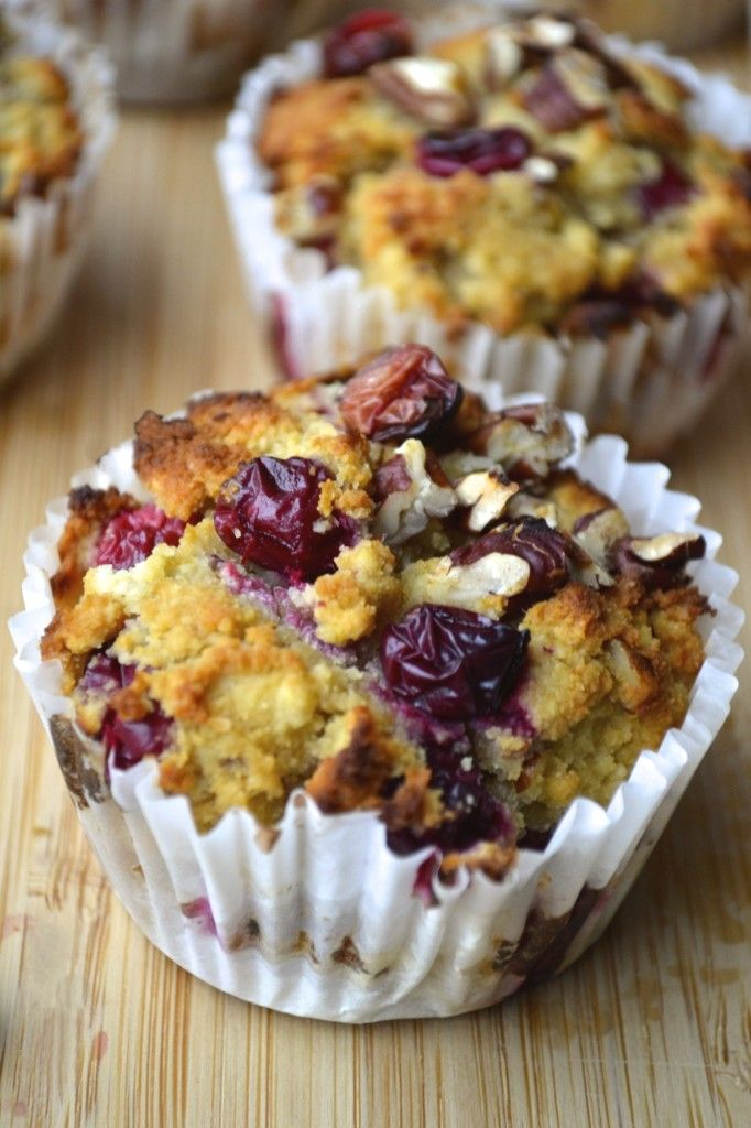 Paleo Cranberry, Orange & Pecan Muffins - almond flour, coconut flour, baking soda, eggs, orange zest, vanilla, orange juice, honey (sub another sweetener), coconut oil, cranberries, pecans