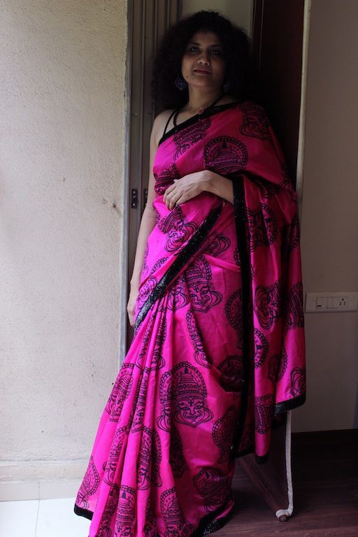 OnuOru » Rani pink Chanderi saree with black shimmer border