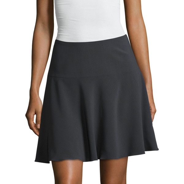 Armani Collezioni Women's Crepe Canvas Fluted Skirt - Grey, Size 40 ($349) ❤ liked on Polyvore featuring skirts, grey, gathered skirt, grey ruched skirt, ruched skirt, shirred skirts and gray skirt