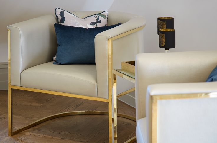 Bespoke brass entrance hallway armchairs