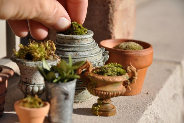 Mini planters for the fairy garden.  I used to have all kinds of miniature plants… need to do this again!