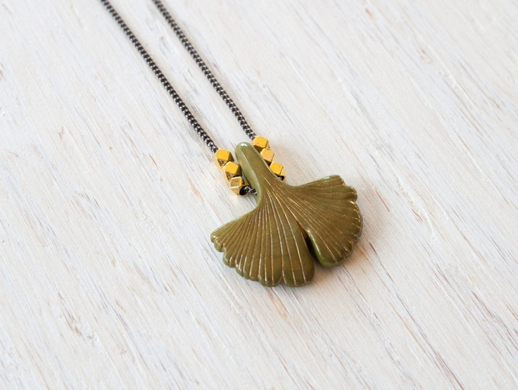 The Ginkgo Biloba, handmade necklace, exclusive to World Hippie Originals. http://worldhippieoriginals.com/collections/lookbook/products/ginkgo-biloba-leaf
