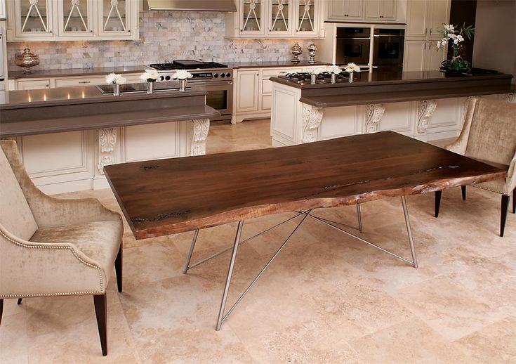 Live Edge Black Walnut table with custom metal (stainless steel) base by elite furniture designer, David Hsu for Craft Art Wood Countertops. (AKA Slab Black Walnut)