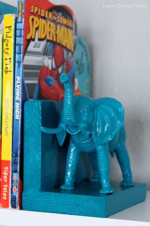 After spotting a pair of cute Labrador bookends at Pottery Barn Teen, blogger Liz decided to make her own for a fraction of the cost using plastic elephants from the dollar bin at Michael's. All she needed to pull off the cute accessories for her kids' playroom was a few blocks of wood, teal spray paint, and some wood glue. Get the tutorial at Love Grows Wild.