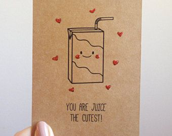 Funny Juice Pun Card // Quirky Cute Love Drink by SubstellarStudio
