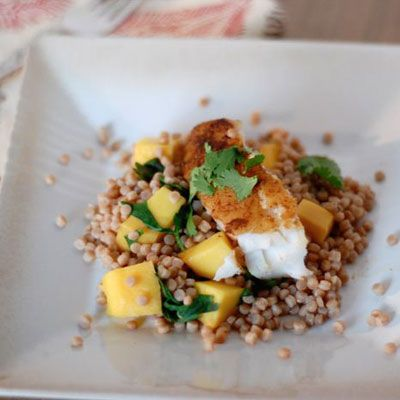 The Best Healthy Recipes from Around the World: Moroccan fish with mango and couscous