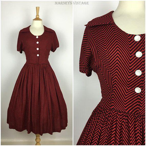 Vintage 1940s Tea Dress  40s Red Black Chevron Striped Dress