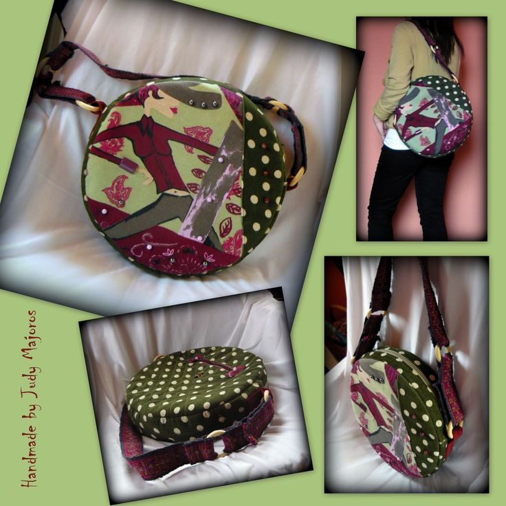 Handmade by Judy Majoros - Green round polka dots  bag.  Shoulder bag. Recycled bag