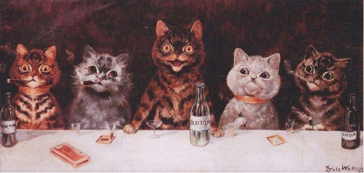 Louis Wain Bachelor Party Mounted Print Cat Cigar Smoking