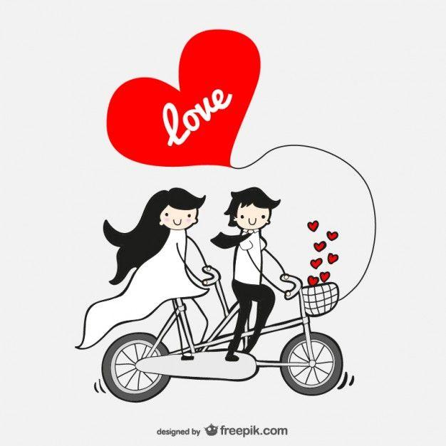Dibujo estilo cómic de pareja en bicileta Vector Gratis