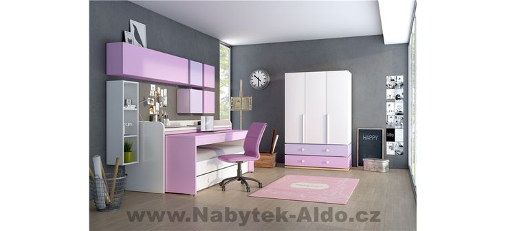 Dětský pokoj pro dvě holky v růžové barvě
