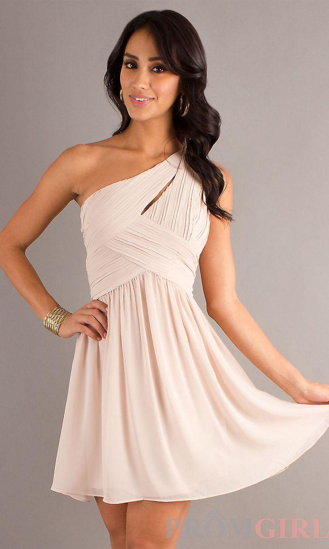 CHAMPAGNE DRESSES | Short One Shoulder Prom Dresses, Junior Prom Dresses- PromGirl