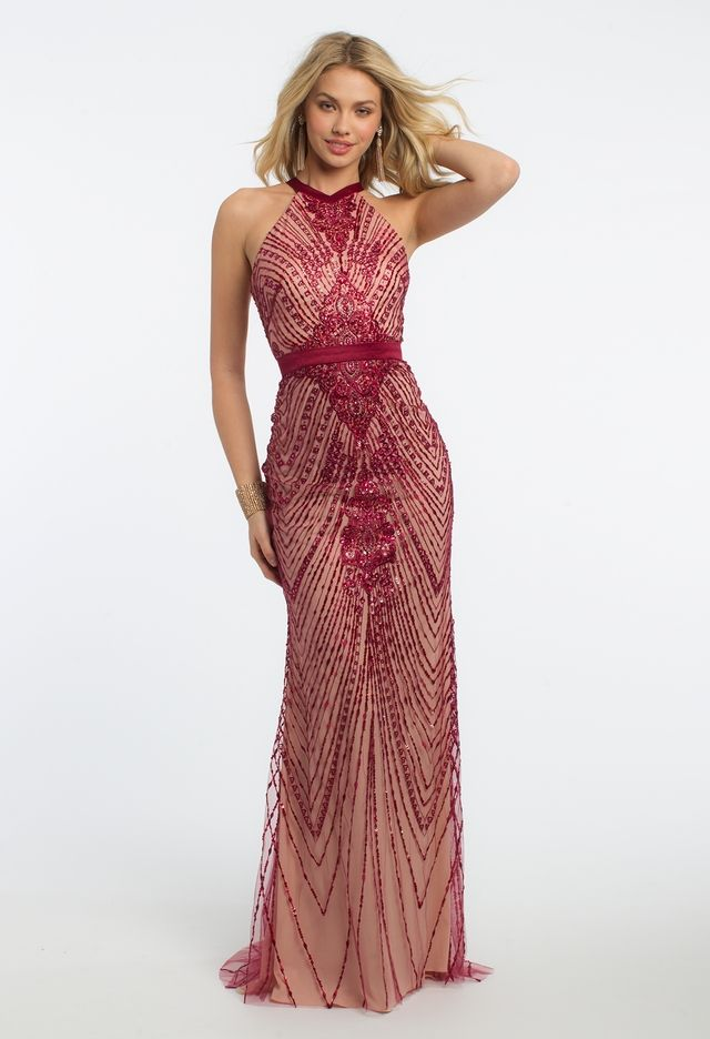 Sequin Embroidered Halter X-Back Dress from Camille La Vie and Group ... 30d5a70fd