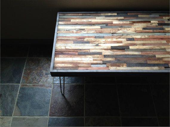 Barnwood Coffee Table - Industrial Furniture - Modern Reclaimed Upcycled Rustic Wood with Vintage Steel Iron Hairpin Legs - OOAK via Etsy 440