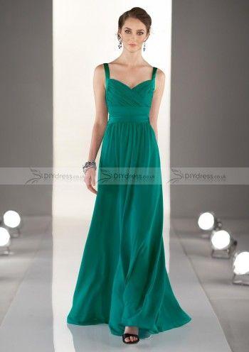 A-Line Spaghetti Strap Sweetheart Pleated Zipper Floor-Length Bridesmaid Dresses