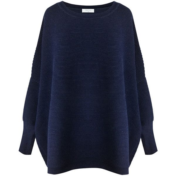 Paisie Navy Oversized Ribbed Jumper found on Polyvore featuring tops, sweaters, jumpers, blue, tall sweaters, blue top, navy oversized sweater, over sized sweaters and oversized sweaters