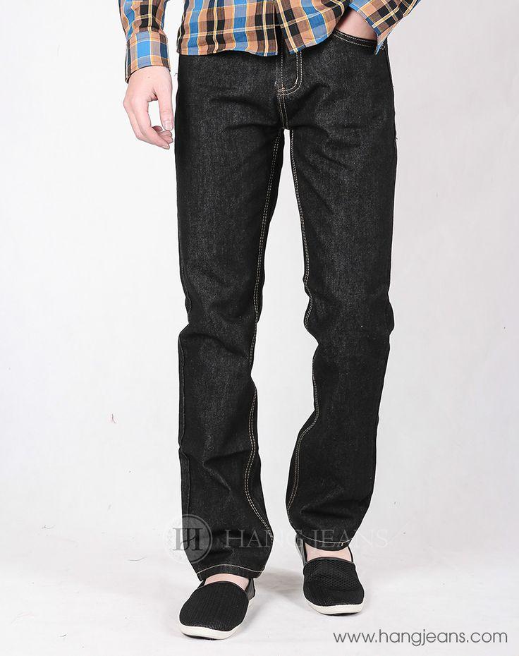 Hằng Jeans - Quần jeans nam ống đứng đen trơn PG902