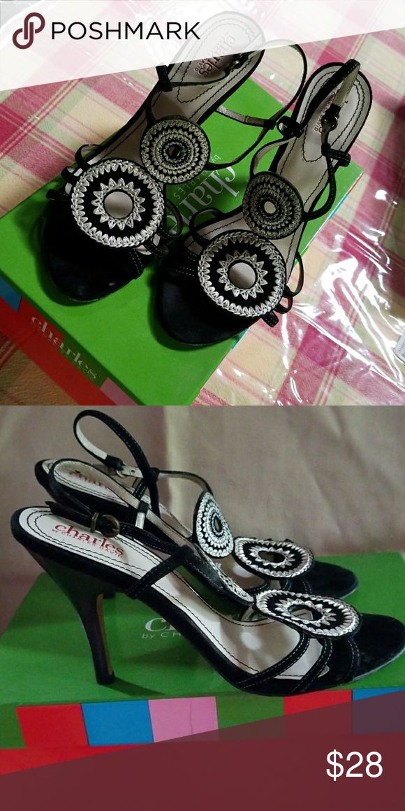 """Charles David medallion heels 3"""" blk suede and cream medallion design back strap . Wore one time ,come with original box . Charles David Shoes Heels"""
