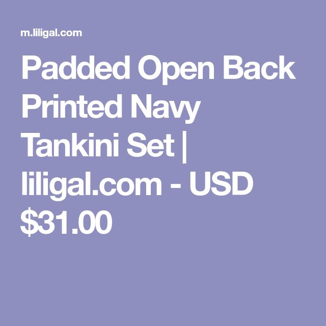 Padded Open Back Printed Navy Tankini Set | liligal.com - USD $31.00