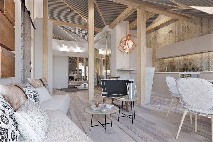 4 небольшие квартиры-студии, оформленные в 4 различных стилях (все по 50 кв. м с поэтажными планами)