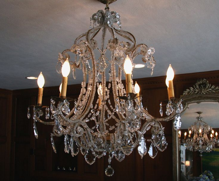 Antique French Macaroni Bead Crystal Chandelier - SOLD - - 47 Best Lighting! Chandeliers, Sconces, And Lanterns Images On