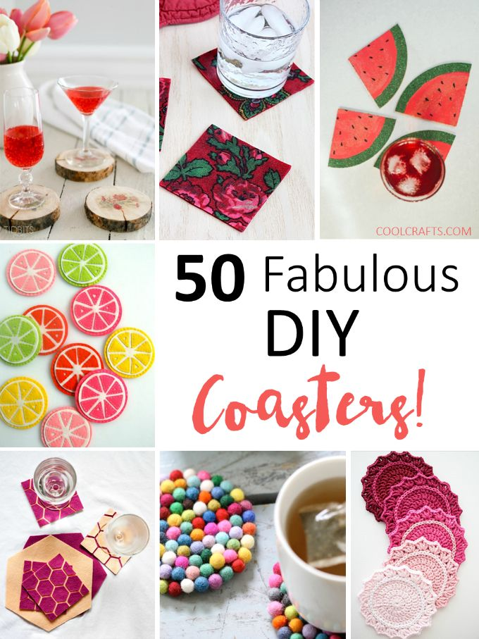 Try some of the DIY coaster ideas, http://www.coolcrafts.com/diy-cup-coasters/