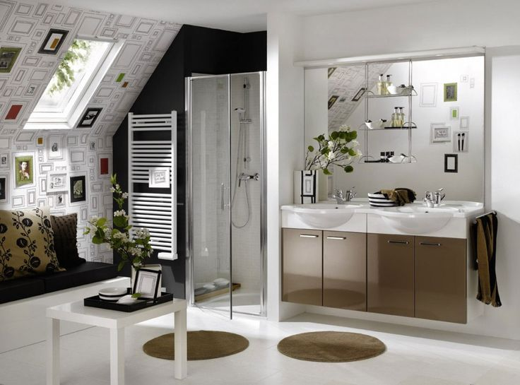 Bathroom: Round Rugs Also Unique Wall Decoration With Frameless Shower Door  Design Feat Large Wall