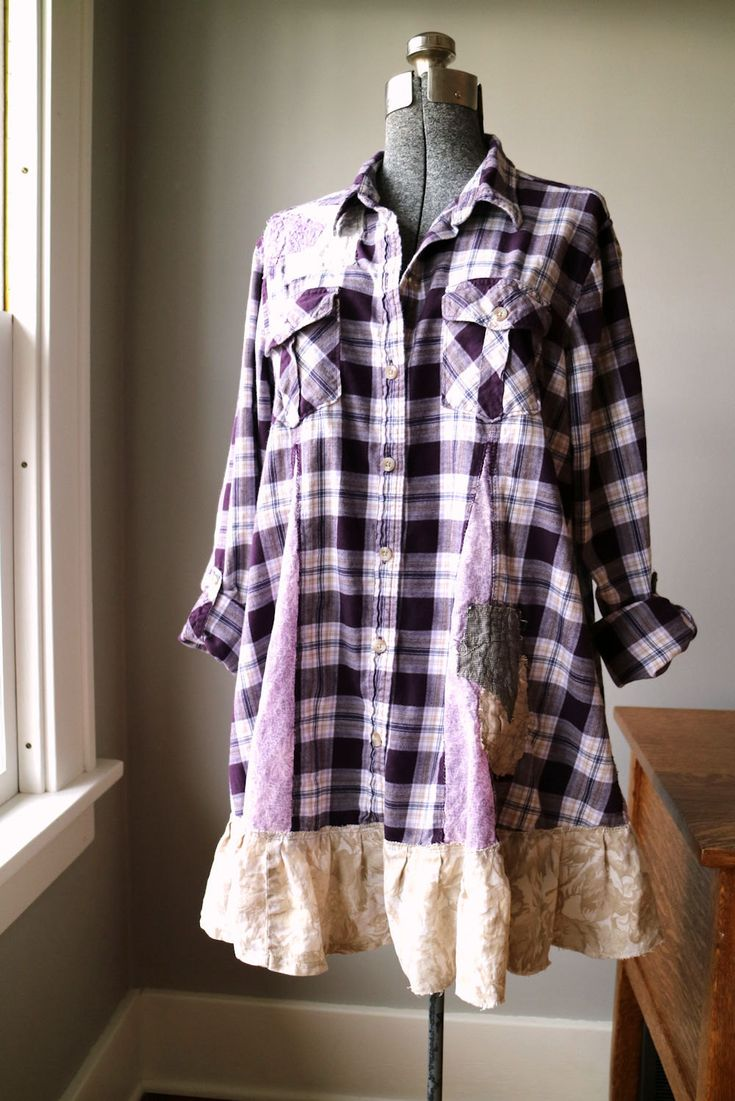 Refashioned Flannel Shirt Plus Size Clothing XL by BentEdgeAlchemy