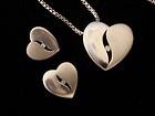 Pretty 925 Silver Box Chain & Heart CZ PENDANT & MATCHING EARRINGS - 9.3 grams