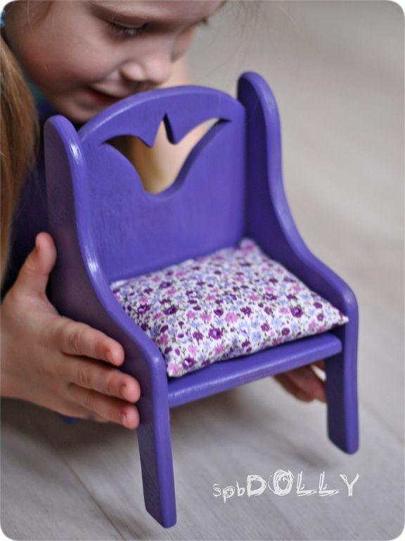 Принцесса - стульчик деревянный для куклы - фиолетовый,стул,стульчик,стул для куклы