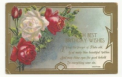 With Best Birthday Wishes Pink Red Roses Unposted Vintage Postcard