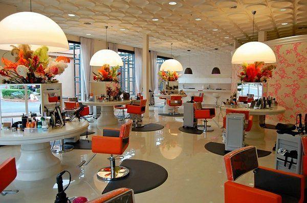 Salon 4062 in Blackhawk, CA   Styling area. Custom stations, ceiling and flooring