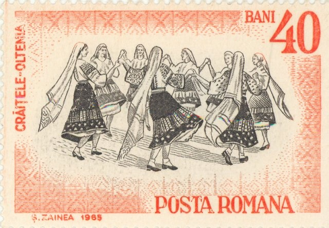 "My Dad used to collect stamps. I was getting lost in the album's pages, 1965 Romania  - Folk dance ""Craitele"" from Oltenia"