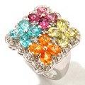 "NYC II 1.08ctw Exotic Multi Gemstone ""Tucson Flower"" Button Earrings ShopNBC.com"