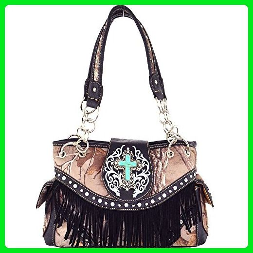 (B11-1)Real Tree Camouflage Western Spritual Handbag With Cross And Fringe-RT1MJ5302 (Black) - Shoulder bags (*Amazon Partner-Link)