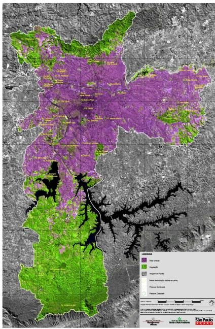 Satellite Map of São Paulo City, Brazil, November 3 1999.  São Paulo Brazil, United Nations #5 Urban Agglomeration on the Planet