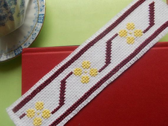 Modern floral bookmark cross stitch pattern by CamisTheCrossStitch