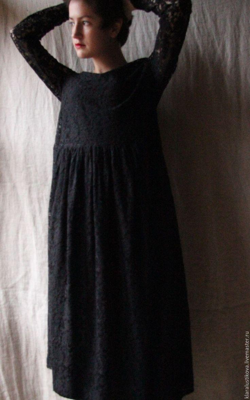 Купить Вещь № 119 - черный, цветочный, кружево, вискоза, Широкая юбка, вечернее платье