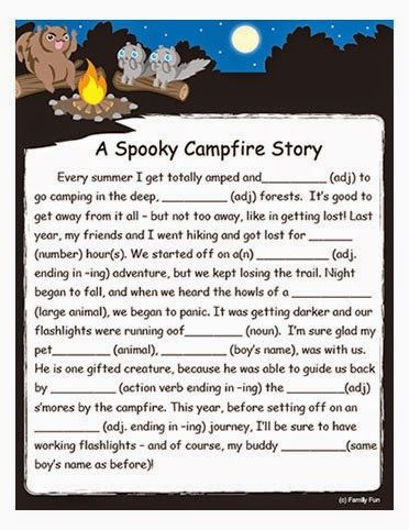 Free Camping mad lib Printable for Fun With the Kids