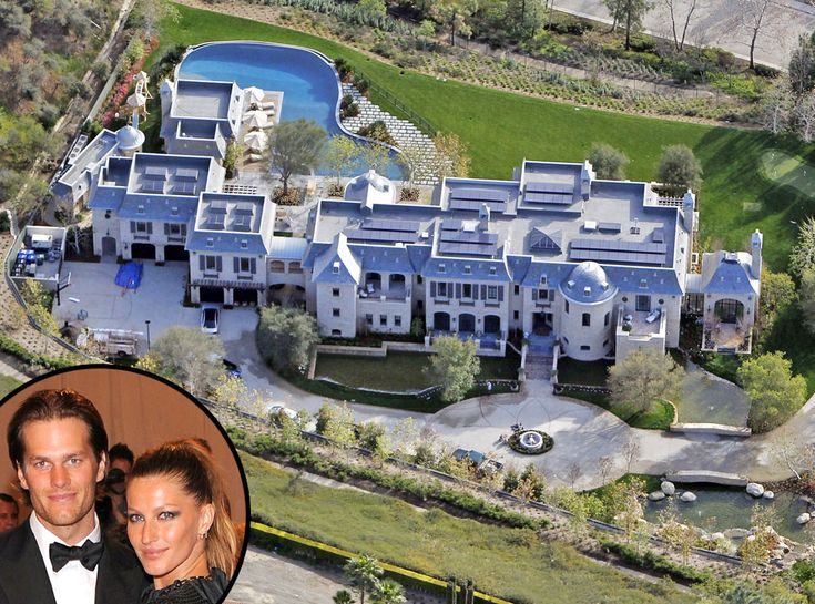 Tom Brady & Gisele Bündchen from Celebrity Mega Mansions  Tom Brady and Gisele Bündchen spent three years remodeling this 22,000 square foot pad. The lot alone is worth $11 million!