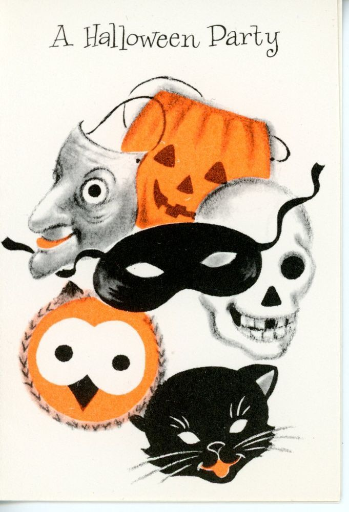 Vintage Stanley Halloween Greeting Card Party Invite Masks 2723