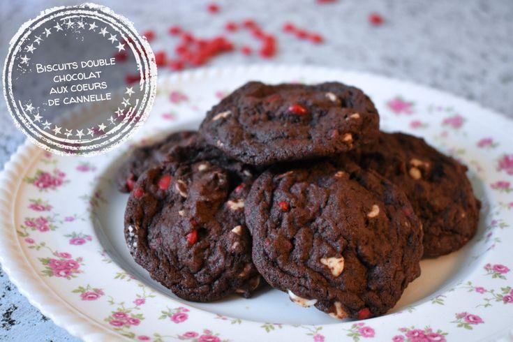 Biscuits double chocolat aux coeurs de cannelle – Au bout de la langue