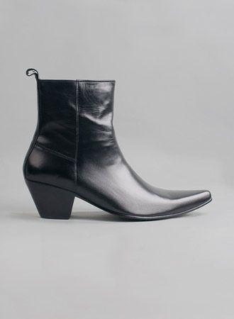 Kid Leather Blamens Winklepicker Boot Zip Cuban Heel Black £95