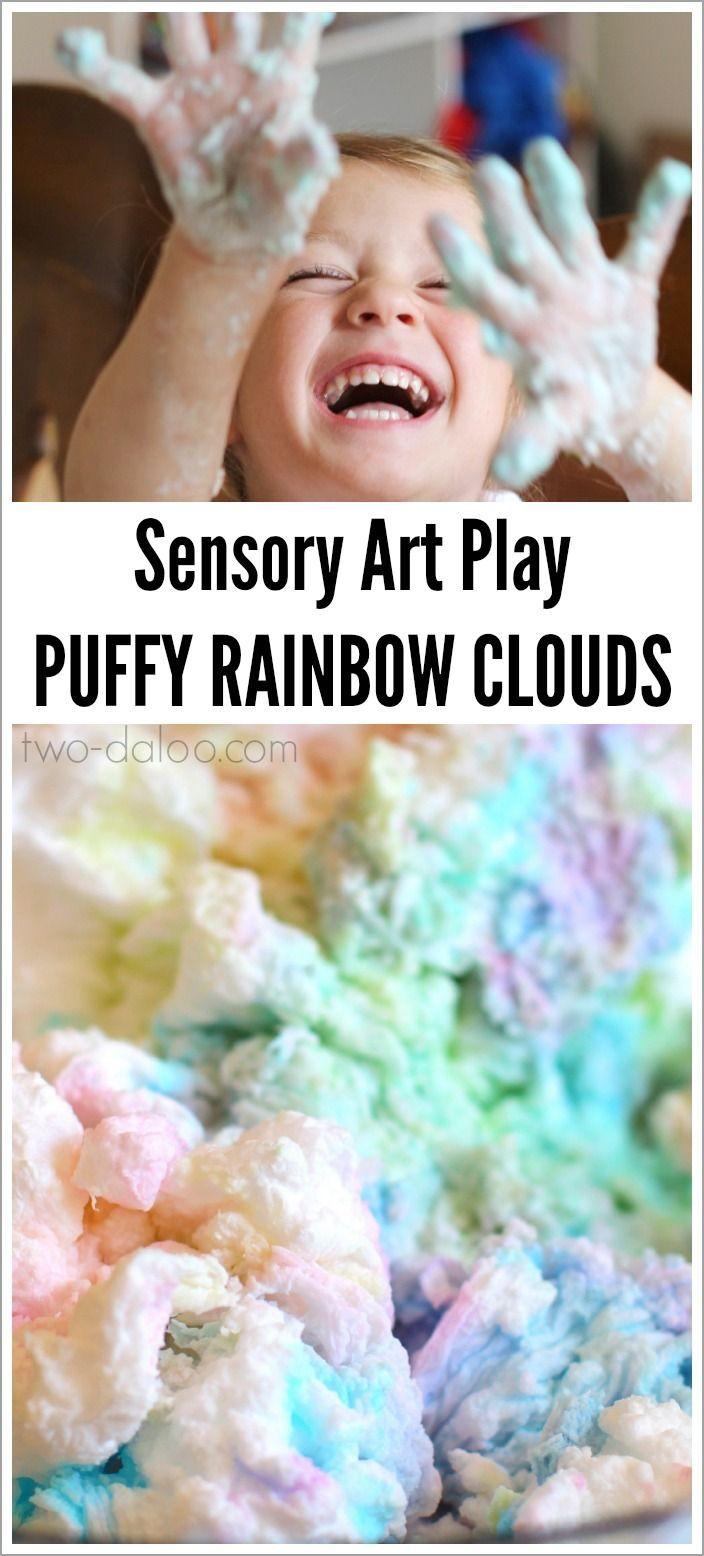 Sensory Art Play: Puffy Rainbow Clouds