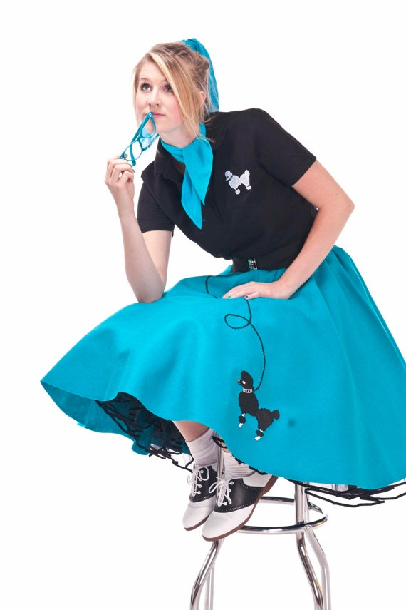 3X4X Plus Size Teal 50S Adult Poodle Skirt By -1396