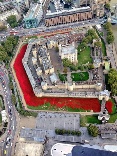 MPS Helicopter posted this amazing view of the installation from the skies tweeting: 'Not quite as sunny today as volunteers work hard planting 888,246 poppies @HRP_palaces @BillyBeefeater #TowerPoppies'
