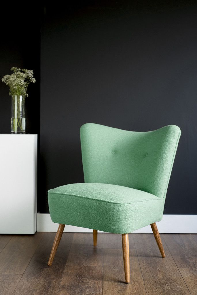 Vintage Cocktail Chair in Mint Green Bute Wool. Photo copyright Florrie+Bill www.florrieandbill.com